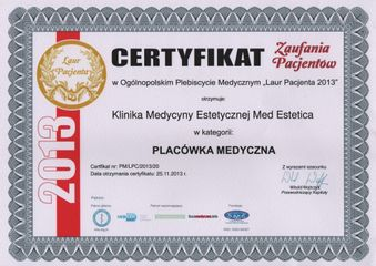 Laur Pacjenta - certyfikat