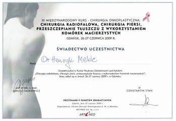 Dr n. med. Henryk Mekle - certyfikat uczestnictwa