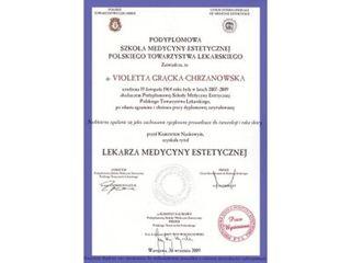 Lek. med. Violetta Grącka-Chrzanowska - dyplom